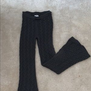 gray Cable knit Bellbottom pant